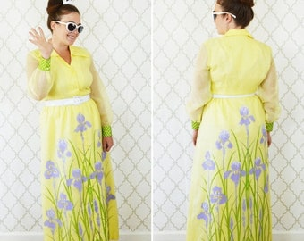 SUMMER SALE Vintage 60's Yellow Floral Maxi Summer Dress - Alfred Shaheen designer Dress - Tropical Hand Painted Hawaiian Dress - size mediu