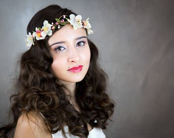 Flower Crown, ivory and pink (cherry) JOANNA