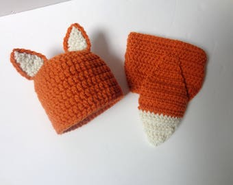 Newborn Fox Hat and Diaper Cover, photo prop, baby boy, baby girl, fox hat, knit hat