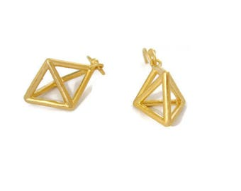Gold Geometric  Earrings  Small  Pyramid  Cage Earring Drops Triangle Dangles Himmeli Jewelry   Artisan Handmade  by Sheri Beryl