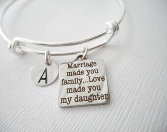 marriage made you family love made you my daughter initial bangle gift from