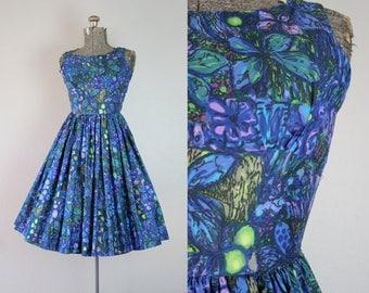 1950's Blue Hawaiian Floral Sun Dress / Size XXSmall