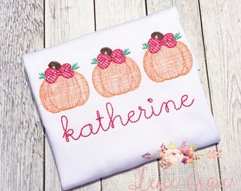Fall Pumpkin Applique Shirt with Bows, handstitched style font,  gingham, for girls, halloween, fall