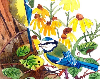 ACEO Limited Edition 1/25- Sweet tweet, Blue tits, Cute bird art print of an original watercolor, Gift for bird lovers