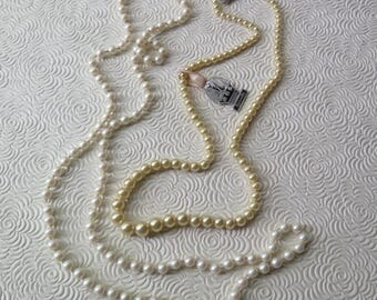 """Marvella Champagne Pearl Necklace 19"""" 1950s Rhinestone Clasp Original Tag 1980s Marvella Knotted Pearl Necklace 30"""" Christmas Holiday Gift"""