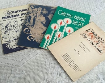 CIJ Christmas Program Books / Vintage Softcover Set of Scripts and Plans / Joy to the World / 1940's and 1950's Holiday Plays