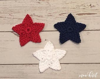 Crochet Star Applique - Set of 3, Red, White And Blue