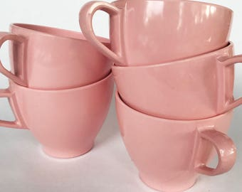 Pink Melamine tea cups mugs set of 5