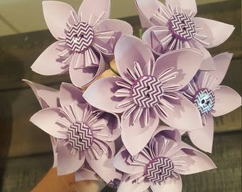 Violet Kusudama Paper Origami Flower with Royal Purple Chevron Button Embellishments, Green Wire Stems, 1 available, ready to ship