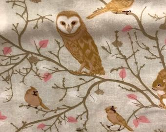 Fabric , 1 yard , huge clearnace sale , barn owl , flannel