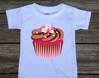 SALE Cupcake T-shirt Shirt Bodysuit Cute Cupcake Shirt for Infant Baby Toddler Little Girl Pink Chocolate Cupcake - Birthday Cupcake Shirt