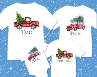 SALE Personalized Christmas Family Matching Retro Truck Car Christmas Tree T-shirts Shirt Baby Bodysuit Mom Dad Baby Kids Boy Girl Child Sib