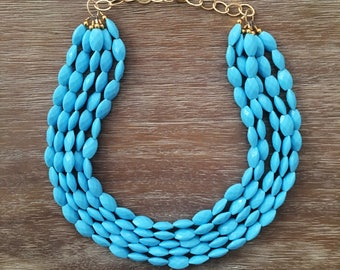 Statement Necklace Bridesmaid Jewelry BATHING BEAUTY BLUE Necklace  Wedding Jewelry Statement Jewlery Sky Blue