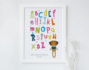 Bright Alphabet Nursery Print - personalised childrens print - cute kids print - baby girl gift - baby boy gift - christening gift - baptism