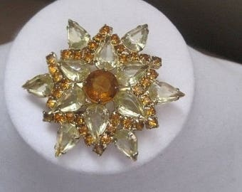 Topaz And Amber Starburst Brooch, 1950's Mid Century