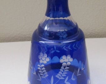 Cobalt Blue Etched Bottle, Vintge Home Decor