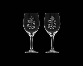 USN set of 2 stemmed wine glass set promotion retirement gift sponsor mcpo scpo navy chief master chief senior chief