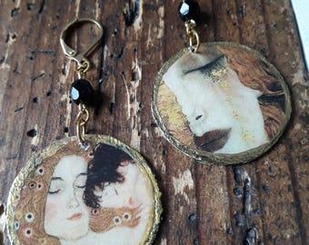 """Boucles d'oreilles rondes inspiration Art Nouveau """" Fashion Klimt"""" by Stampchrys"""