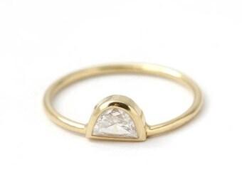 ON SALE Half Moon Diamond Ring, Simple Engagement Ring, Crescent Moon Ring, Boho Engagement Ring, Diamond Moon Ring, 0.25 Carat Diamond Ring