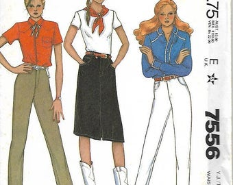 ON SALE McCall's 7556 Palmer & Pletsch Junior/Teen Jeans And Jean Skirt Pattern, Size 7/8, UNCUT