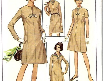 ON SALE Simplicity 7320 Misses Dress With Detachable Collar Pattern, Size 14, Bust 34