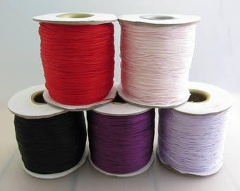 0.6mm Width Macrame Knotting Cord, 5m Length Waxed Nylon Cord, Black Lilac Pink Purple Red Cord, Destash, Choose Your Colour
