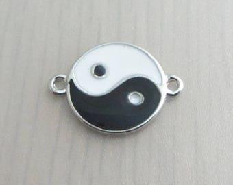 8 Black And White Yin Yang Connector Charms, 20mm x 15mm Silver Yin Yang Charm, Zen Charm, Jewelry Craft Supply, Bead Destash