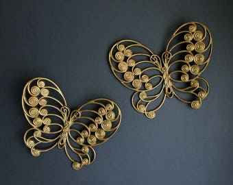 Vintage Butterfly Wall Decor Set Of 2 Gold Butterflies by Burwood Products Co.
