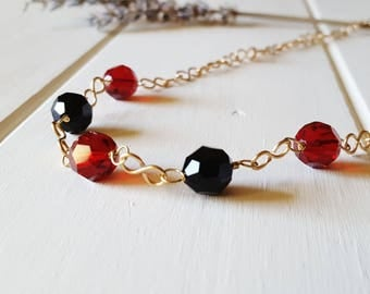 Chloe - Cherry Red & Jet Black Necklace, Ready to Ship