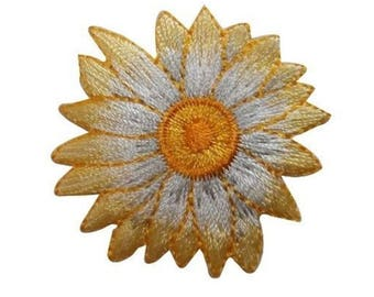ID 6029 Yellow Sunflower Bloom Patch Blossom Garden Embroidered Iron On Applique