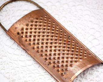 Vintage 100% Copper / Kobber - Cheese or Food Grater Made in Denmark Handheld