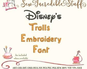 Disney's Trolls Machine Embroidery font