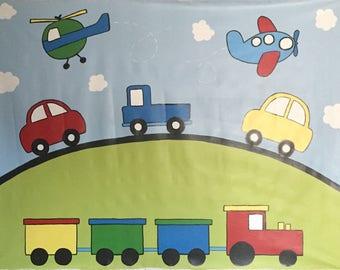 Transportation Mural - Transportation Decor - Planes Trains and Automobiles Decor - Train Mural - Boys Room Decor - Nursery Decor - Cars