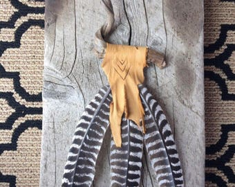 Driftwood and Turkey Feather Wall Hanging