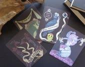 black gothic lowbrow postcard collection, occult card set, dark art stationery, mystical animal art, gothic home decor, tarot card prints