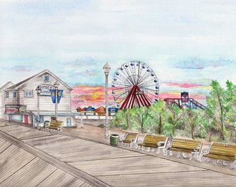Ocean City Maryland Boardwalk Print, Beach Art, Seashore Painting, Watercolor Carousel, Amusement Park Pier, Ferris Wheel, Rollercoaster