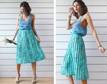 Vintage turquoise green blue tulip print accordion pleated elastic waist midi skirt XL