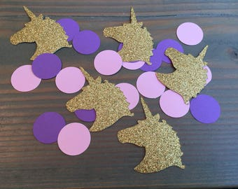 100 glitter unicorn heads & pink and purple circles, unicorn party confetti, unicorn confetti, birthday party, baby shower