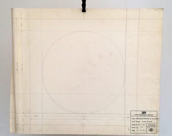 A Circle. Long Primer 19, Sign No. 27. Original vintage Linotype drawing. Industrial drawing. Vintage sign drawing 1971.