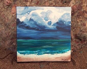 Seascape Canvas Art   Coastal Painting   Ocean Art   Beach Decor   6x6   Tempest   Saltons Cove Studio