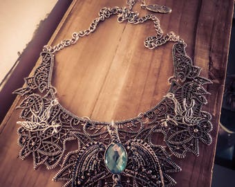Silver bib necklace lace Harry Potter ♠Serredaigle♠