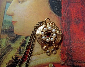 Necklace Pendant Handmade 22KT GP Swarovski Vintage Assembly Exotic Boho Gypsy Nod to Steampunk and all things Victorian Elegant Unique