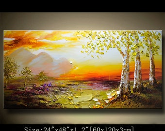 contemporary wall art,Palette Knife Painting,colorful Landscape painting,wall decor,Home Decor,Acrylic Textured Painting ON Canvas Chen 0822