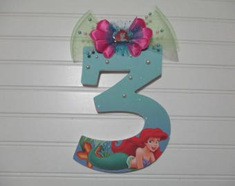 "LITTLE MERMAID, ARIEL number 20.00 per number, 8-1/2"", perfect birthday party decorations and for monthly or yearly birthday pictures"
