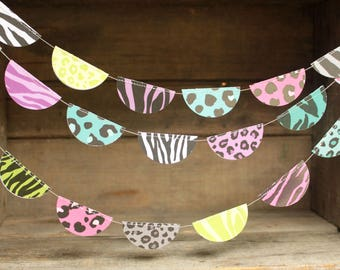 Birthday Party Decorations, Paper Garlands,Wild One, Wild Child, Colorful Decorations,Party Garlands, Animal Print Decorations, 10 ft long