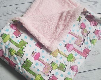 Giraffe Flannel Blanket with Sherpa wool Carseat Blanket Crib Blanket Baby Blanket
