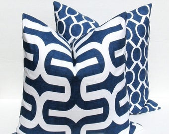 15% Off Sale NAVY PILLOW Decorative Pillow Cover , Navy Blue Pillow Throw Pillow Covers , Pillow Set Pillow Accent Pillow  printed fabric on