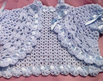 Baby girls Blue crochet Bolero,shrug, cardigan, christening wrap, baptism, baby shower gift, party, wedding,