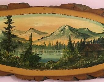 Vintage landscape cedar wood slab painting on burl Canadiana 1978, large - free shipping.  Bob Ross style landscape.
