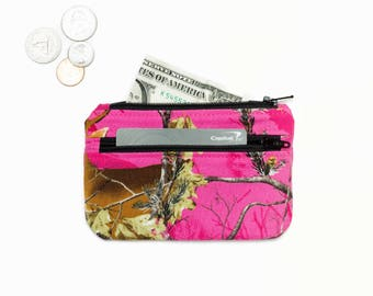 Pink Camo Coin Purse Wallet - Card Wallet- 2 Zipper Change Purse Pouch - ID holder -Small Wallet -  Hot Pink Camouflage Coin Pouch